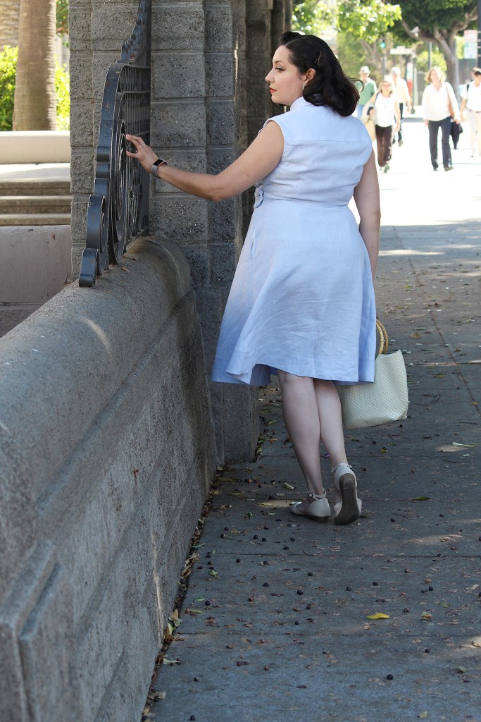 1950s retro fashion, the Colette Penny dress in light blue linen, video tutorial blog post | Vintage on Tap