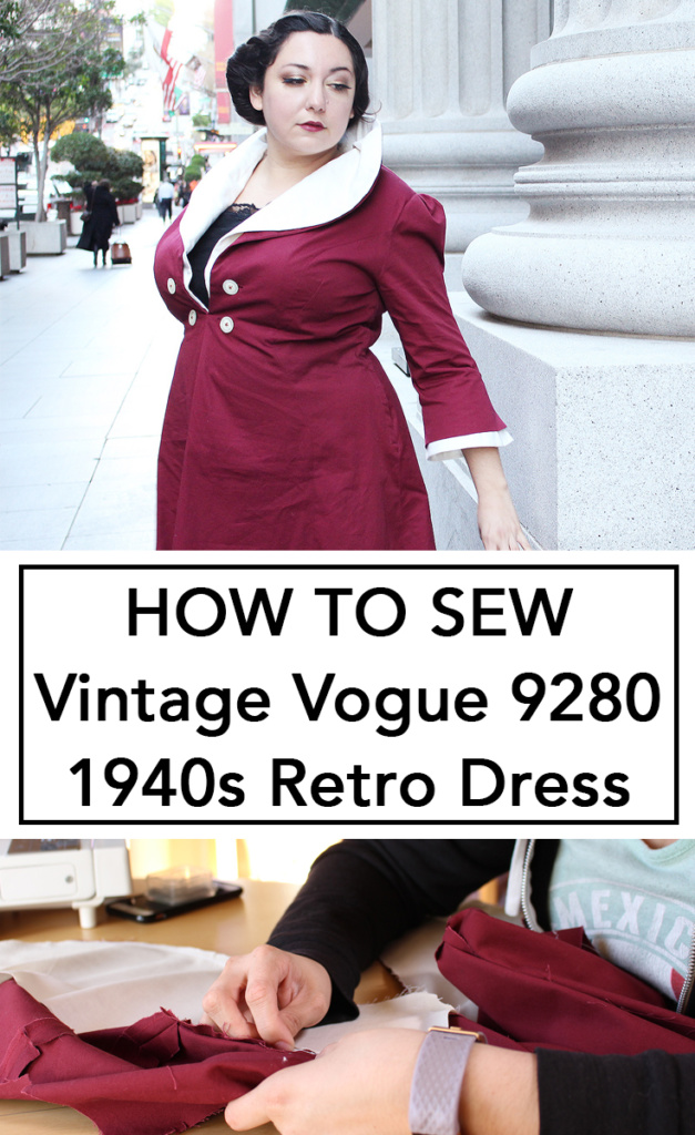 How to Sew Vintage Vogue 9280, from the 1940s. This is a full video walk through on how to make this vintage reproduction dress. | Vintage on Tap