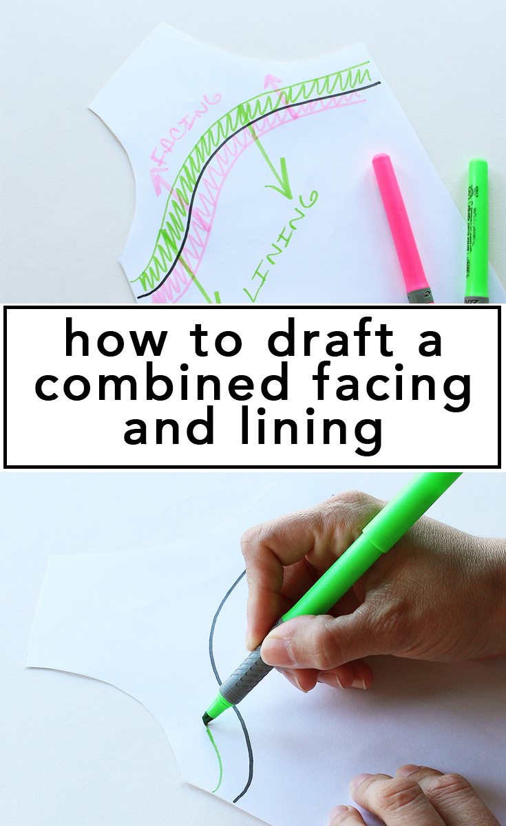 How to draft a combined facing and lining, video tutorial! | Vintage on Tap