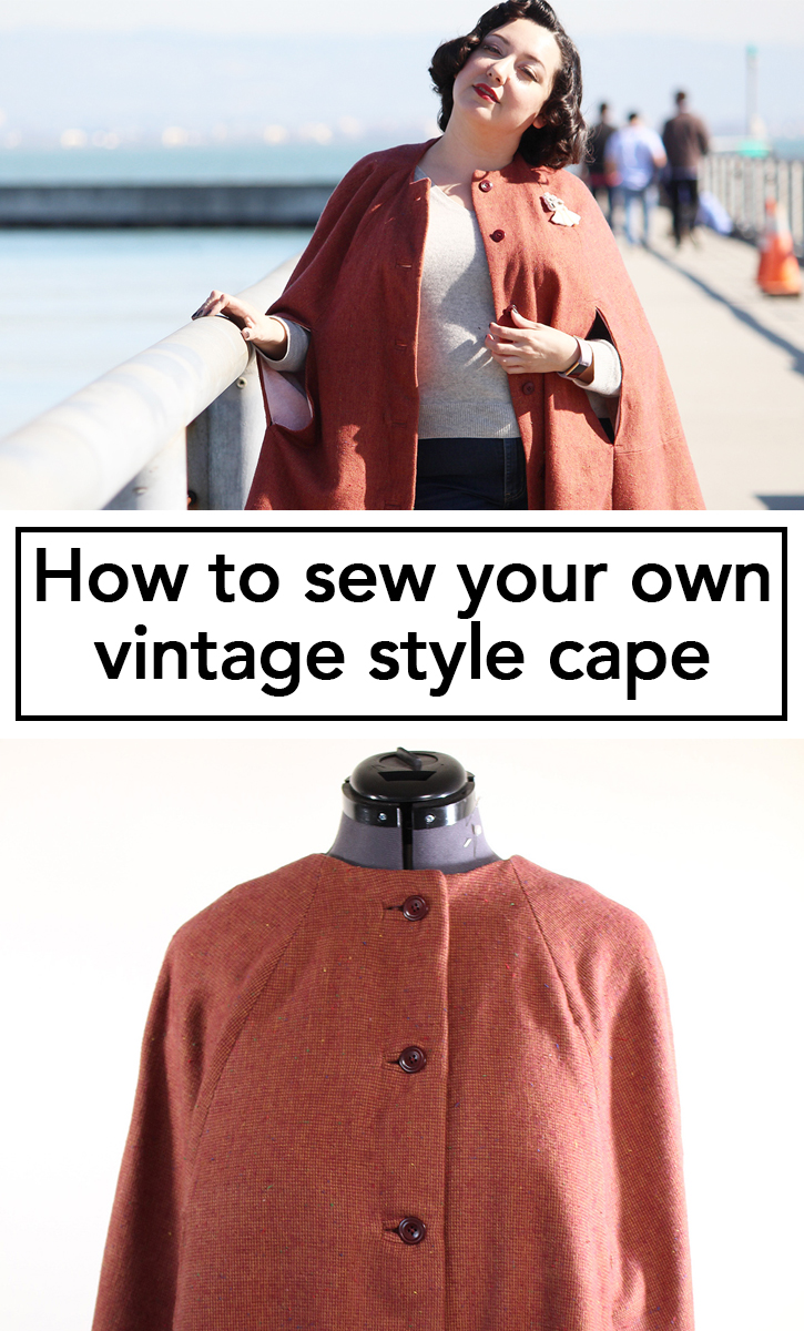 How to Sew a Vintage Style Cape, using the Seamwork Camden sewing pattern. This video tutorial breaks down the sewing process and gives you all my tips and tricks to make a cape with authentic sewing techniques! | Vintage on Tap