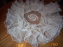 vintage ruffle doily waterfall
