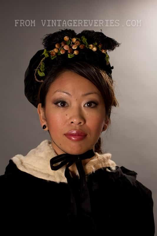 1800s velvet bonnett