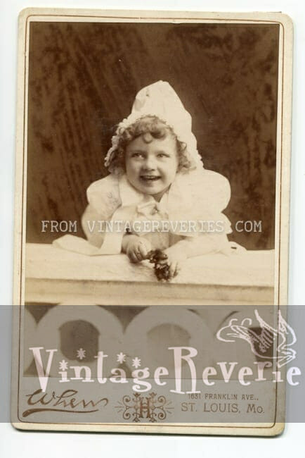 smiling baby girl st louis mo turn of the century photograph