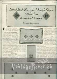 Tatted Medallions and Simple Edges Applied to Household Linens - 1917 free edwardian lace pattern
