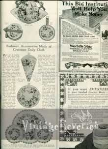 Bedroom accessories made of Cretone Doily Cloth - April 1917 Bridal Issue of The Modern Priscilla