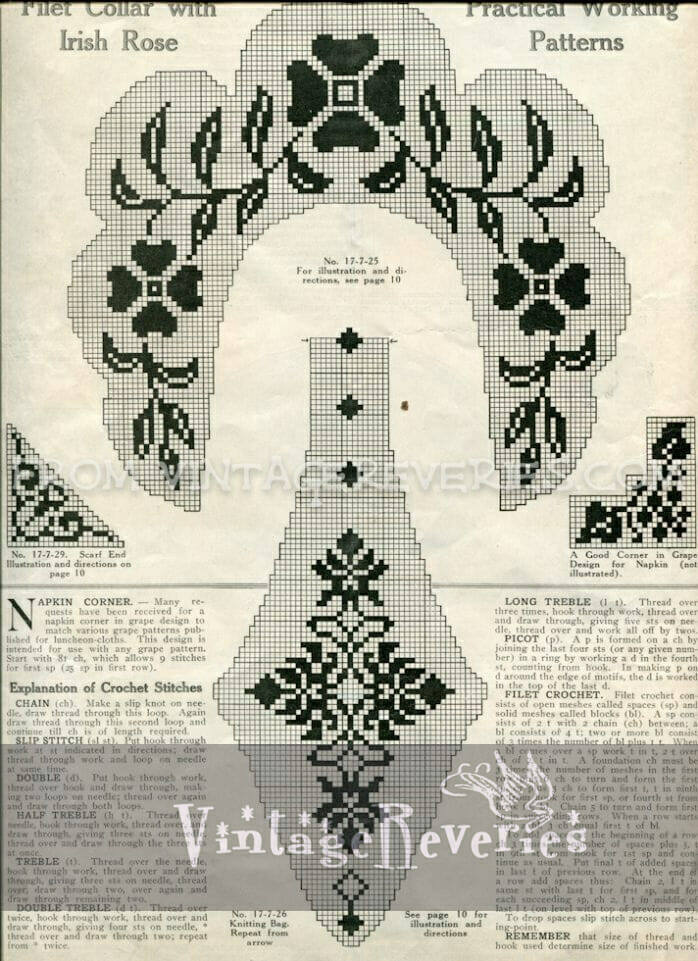 Filet Crochet Patterns and the Back Pages from the July 1917