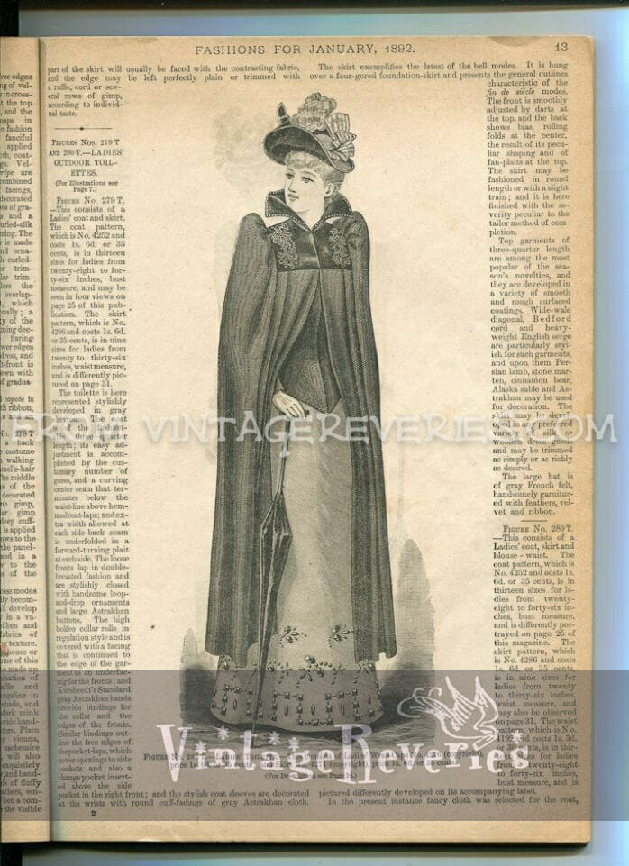 1890s woman in a cloak fashion illustration