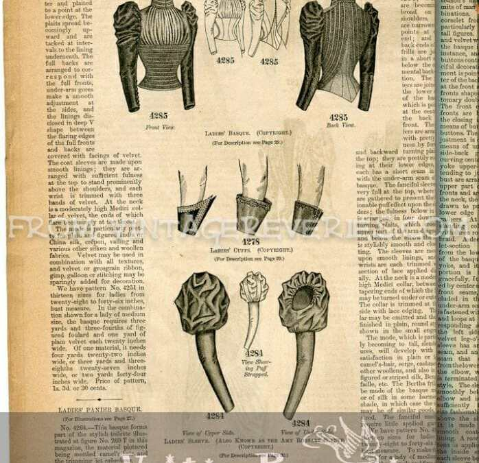 Winter 1892 Ladies Sleeve, Skirt, Bustle, and Train Fashions