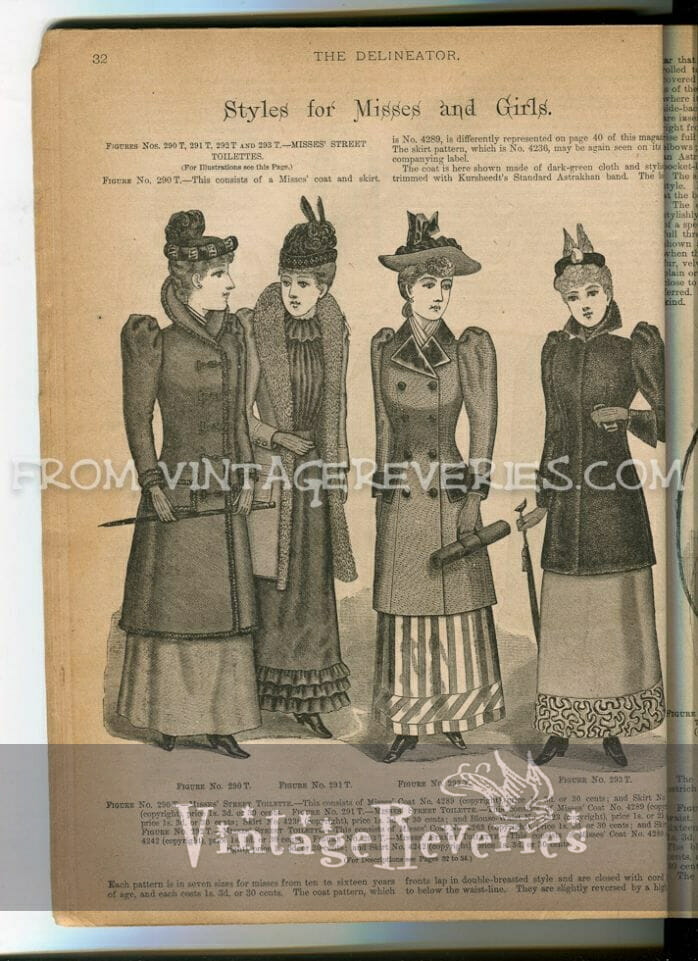 Styles for Misses and Girls (Winter of 1892 - The Delineator)