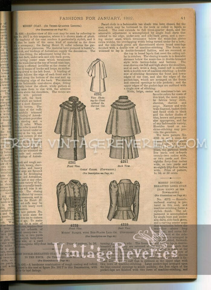 1890s cloak and coat fashions for girls and young women