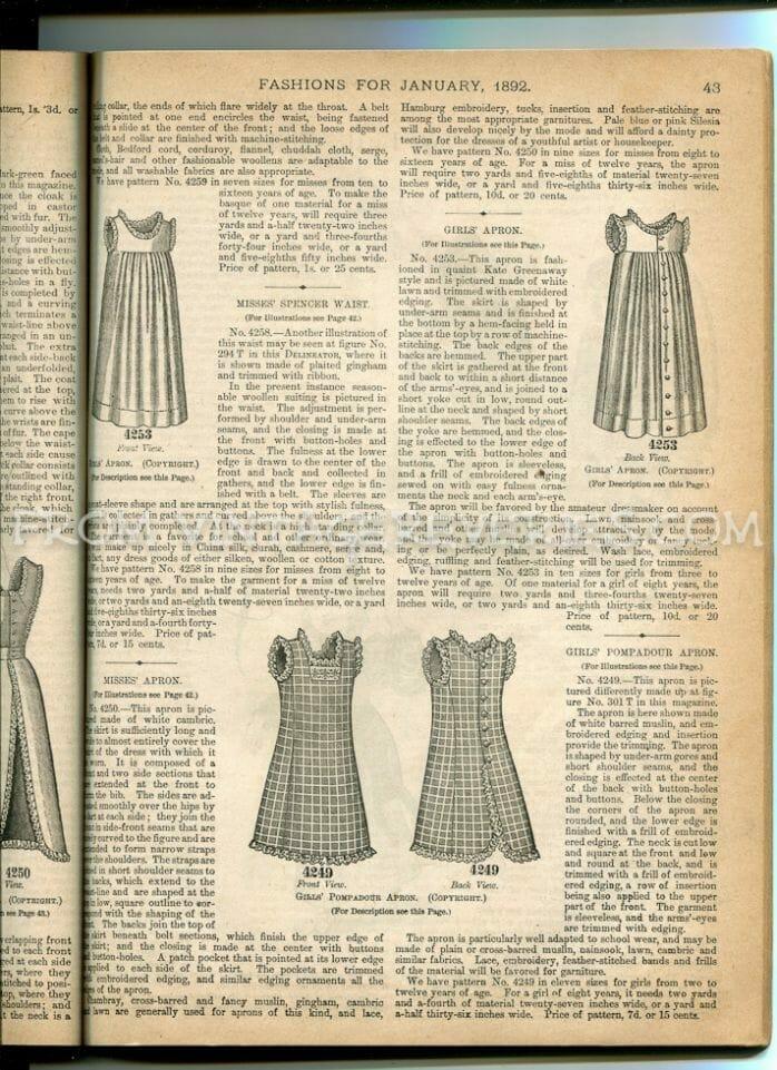 1892 childrens fashions
