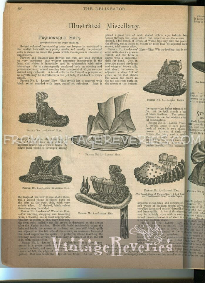 Illustrated Miscellany: 1892 Hat Fashions, Victorian Embroidery, Dressmaking at Home, and other household crafts