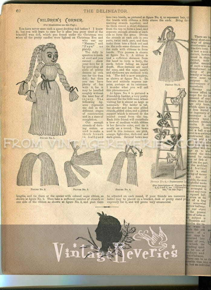 how to make a yarn doll - 1890s