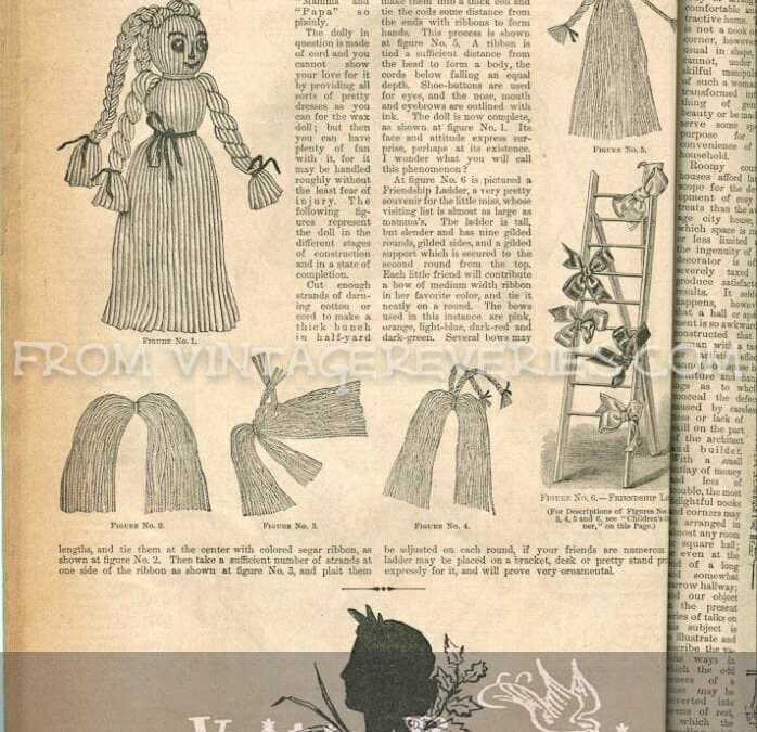 Yarn Doll instructions, Brazilian Embroidery Patterns, Fur trimmings, Seasonable Millinery, and How to Care for Canaries – misc
