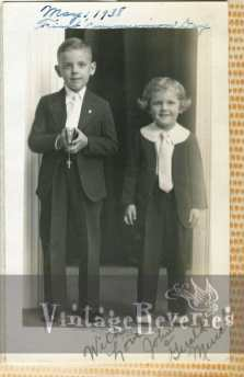 little boy and a little girl in pants from 1938