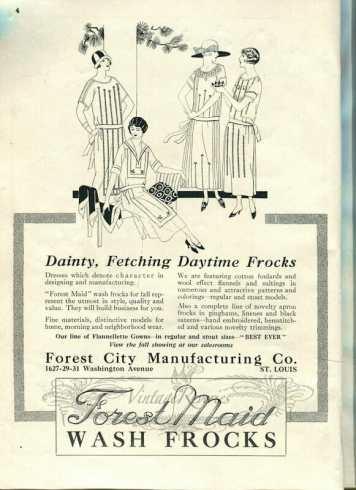 1920s dress illustration and advertisement
