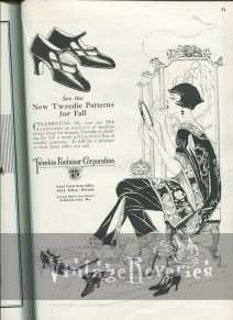 1920s flapper shoes advertisement illustration