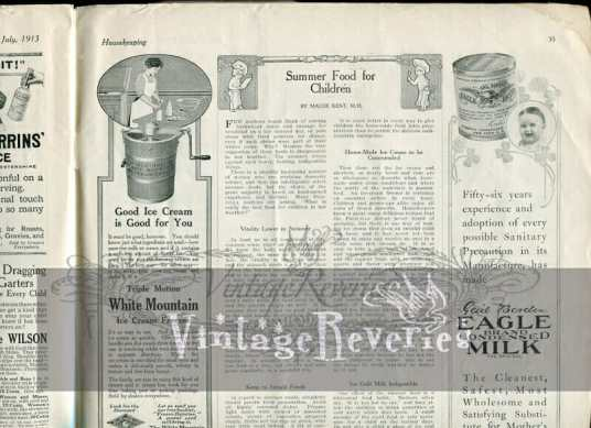 ice cream maker advertisement 1913