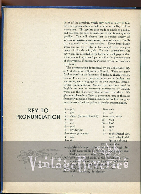 Fashion Pronunciation Key, Preface, and Table of Contents