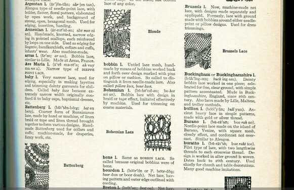 Lace identification guide and illustrations, and I – Lambskin