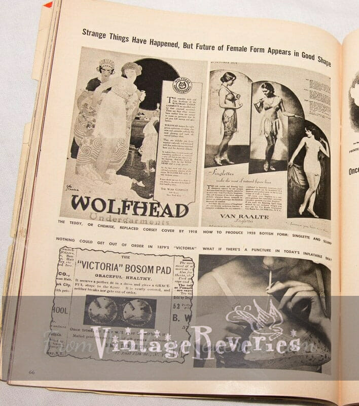 Lingerie advertisements from the 1800s to the 1950s