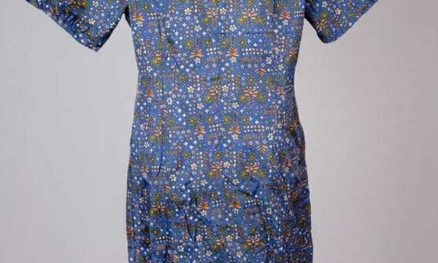 Mod blue floral and art deco patterned print dress – BBW or XL