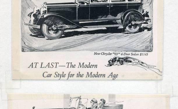 Six 1920s Chrysler car advertisements