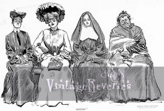 Sisters - nuns and a beautiful lady