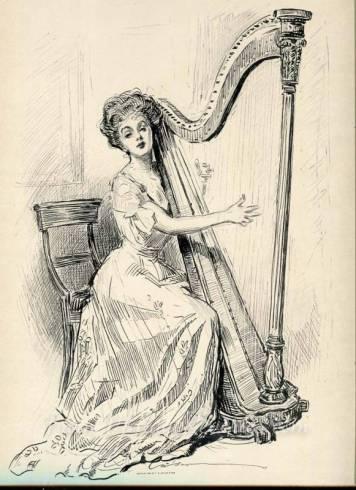 turn of the century harpist gibson girl