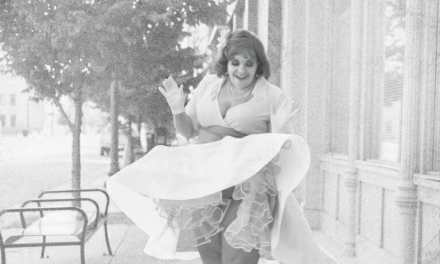 Pinup Modeling a 1950s style Felt Circle Skirt