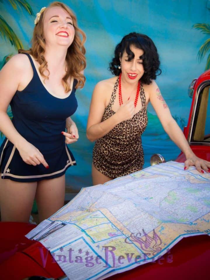 models looking at a map