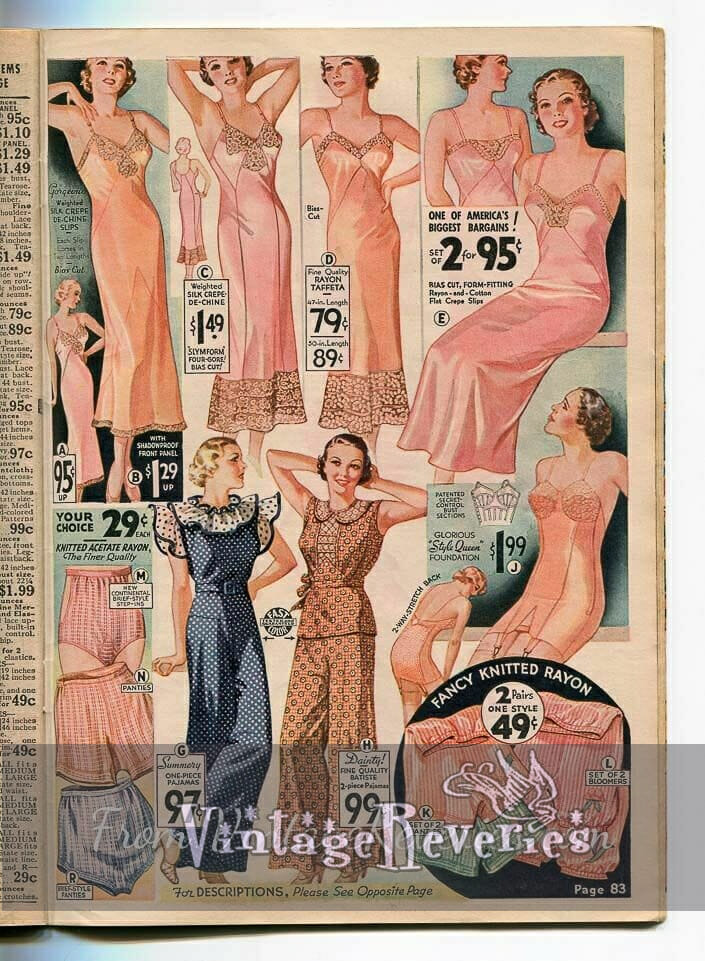 1935 slip, bra, and panty advertisements