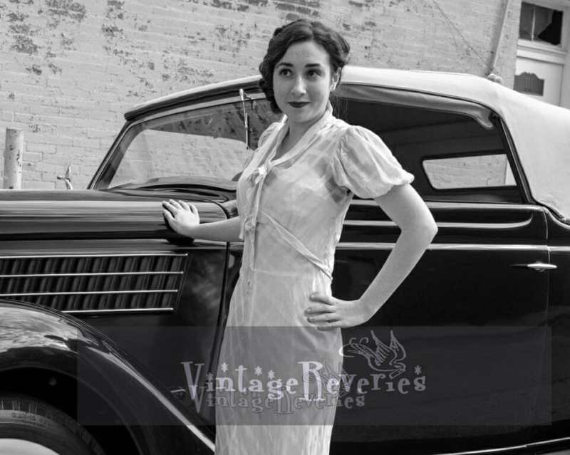 girl with car 1930s style