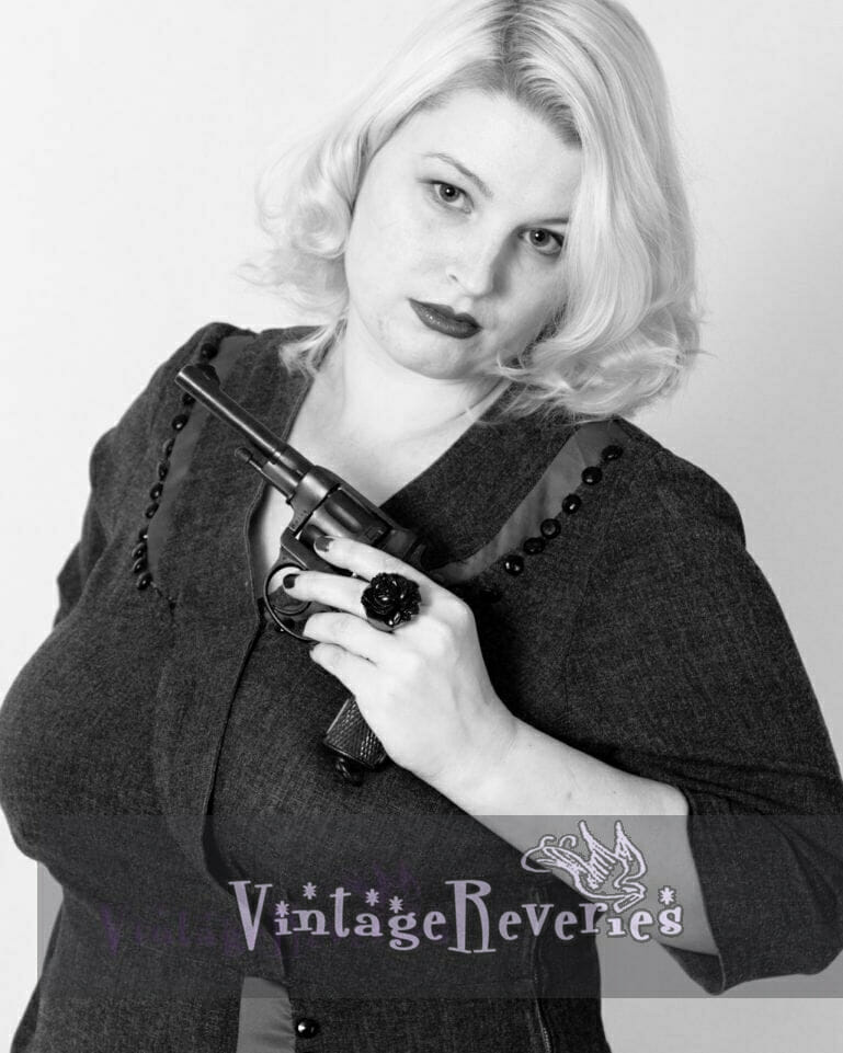 pinup with a revolver