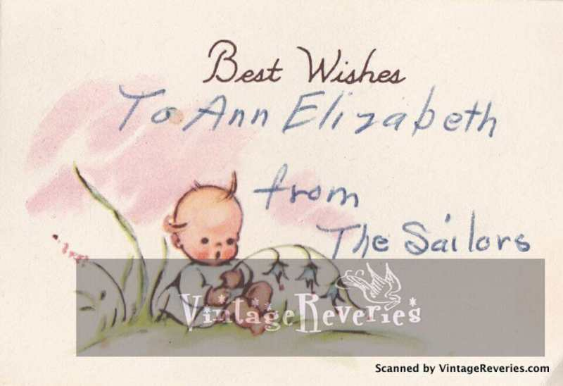 Best wishes for Baby 1960s card scan