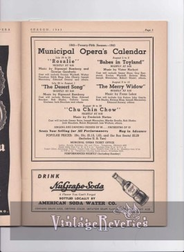 1943 St. Louis Muny calendar of shows