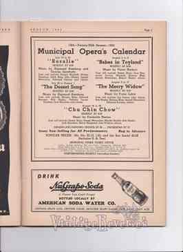 1943 St. Louis Muny calendar of shows