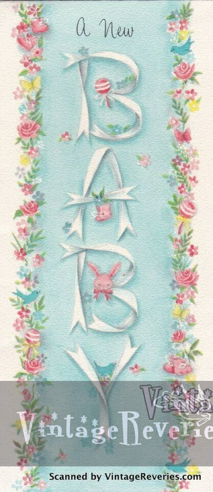 1960s baby shower card scan