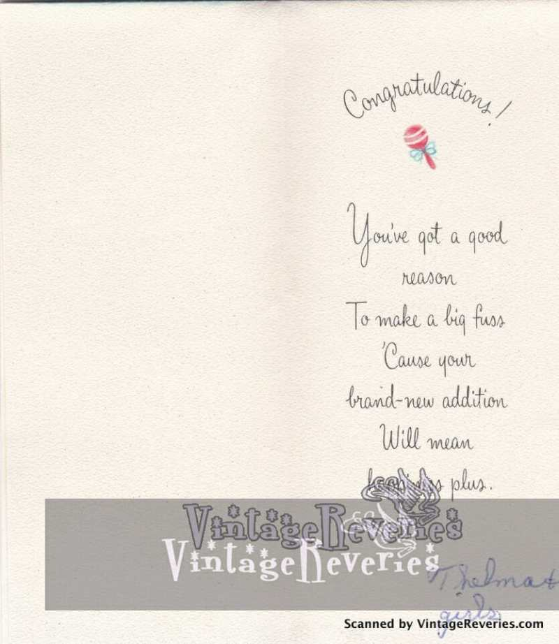 Illustrated 1960s baby card interior