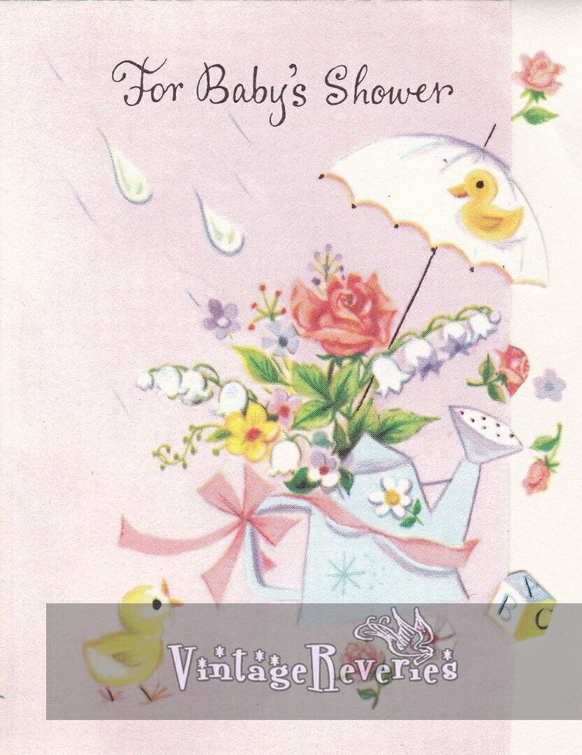 Baby shower card scans from the 1960s