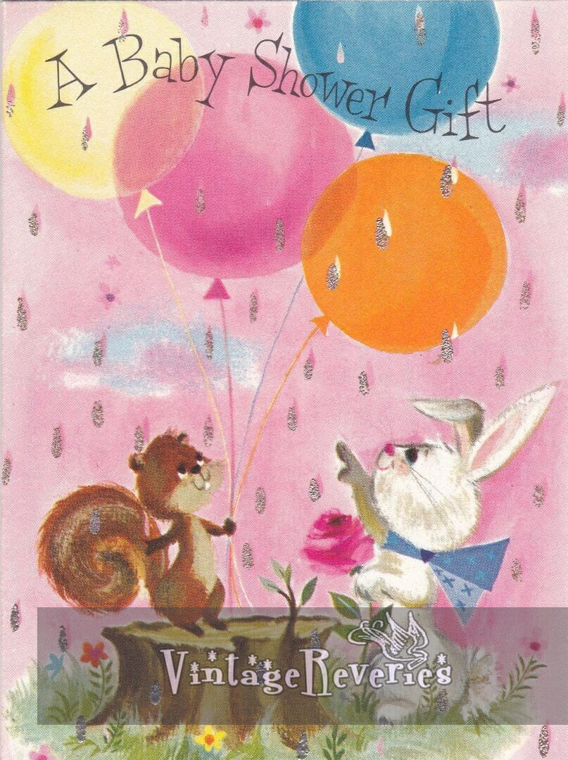 rabbits and chipmunks with balloons illustration