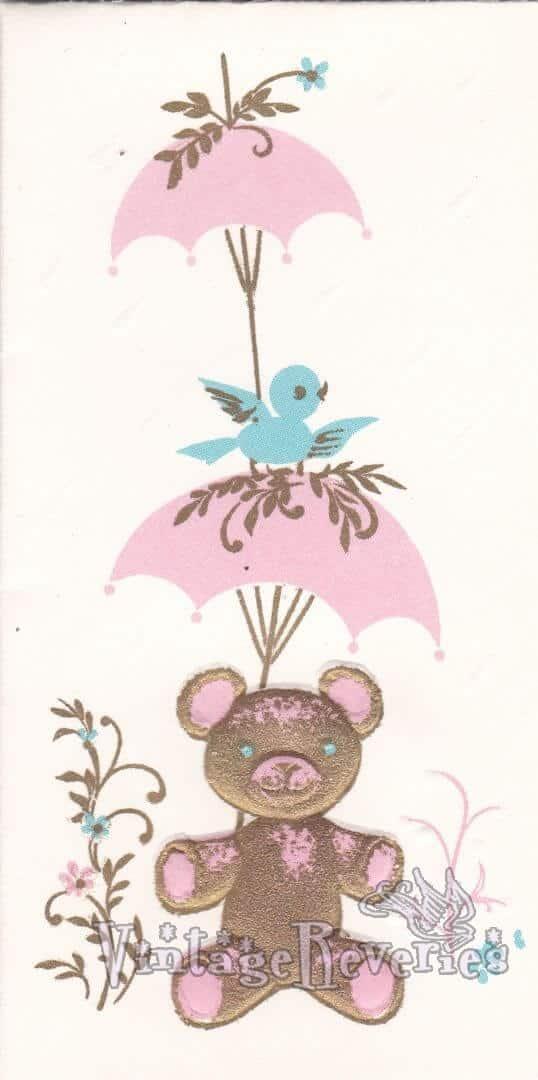 teddy bear illustration for a baby shower