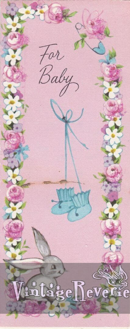 1960s illustrated baby shower card
