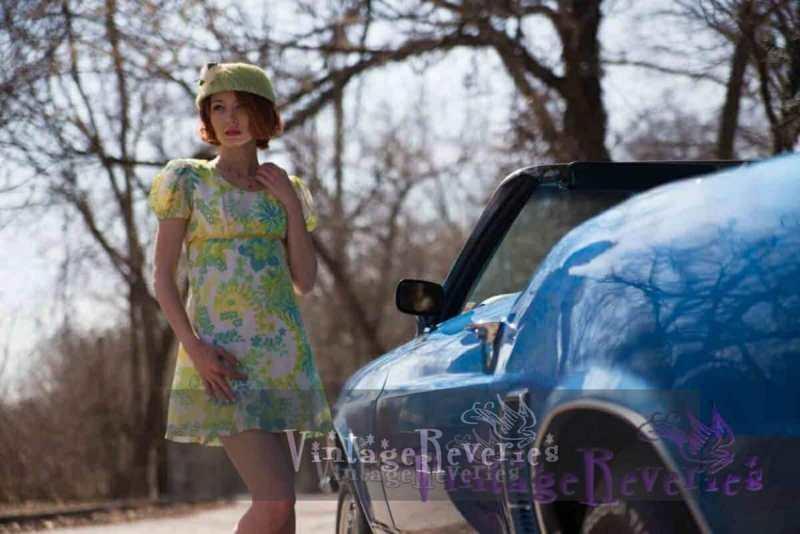 green 1960s mini dress and blue car