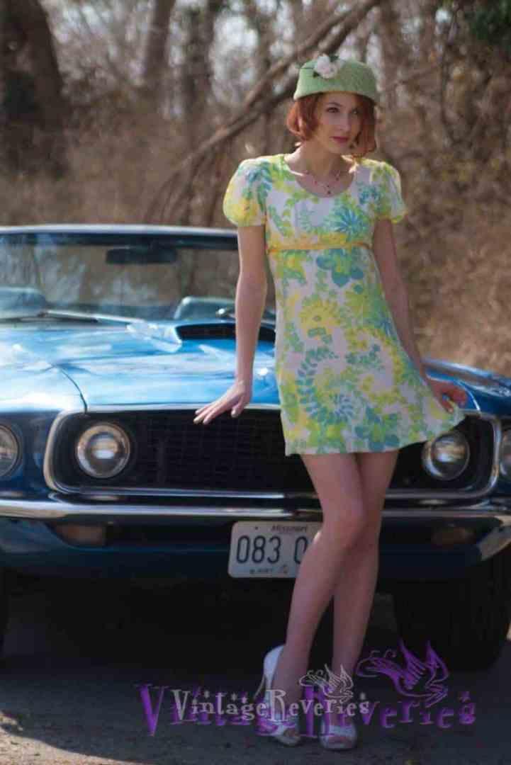 mini dress and vintage car