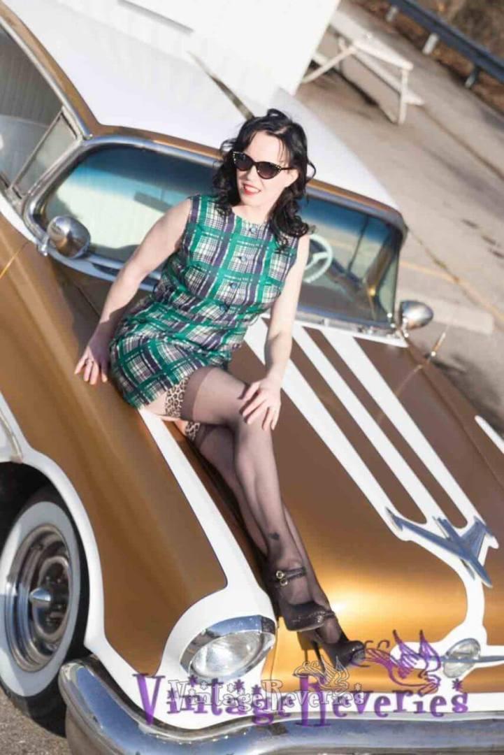 1960s plaid sheath dress