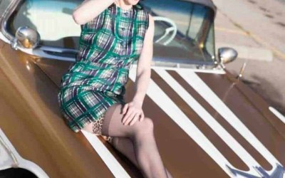 Snapshots of a pinup model wearing a 1960s Plaid Sheath Dress on a gold car