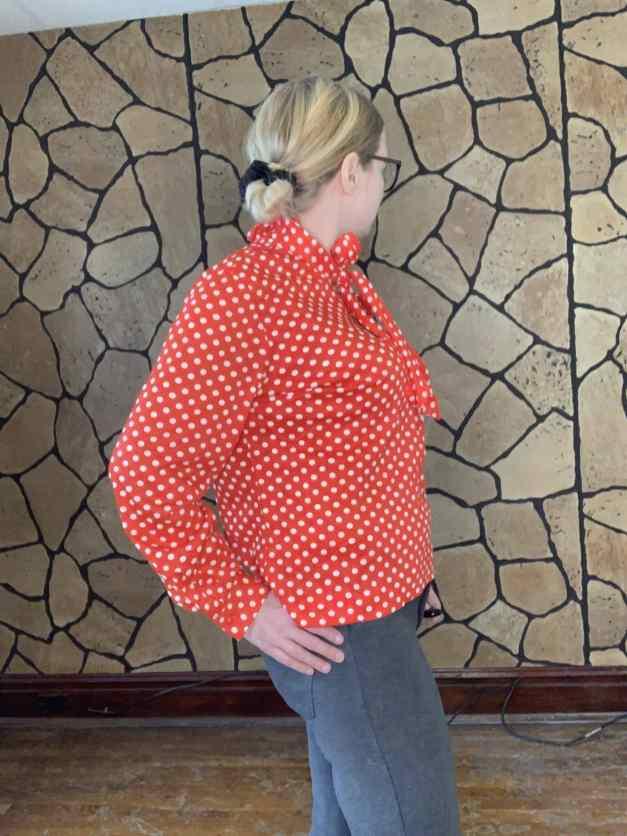 Bold bright red & white polkadot long sleeve shirt by Stoner Square