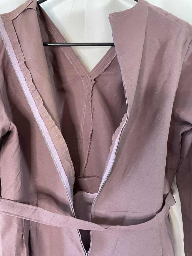 purple long sleeved 50s-early 60s dress