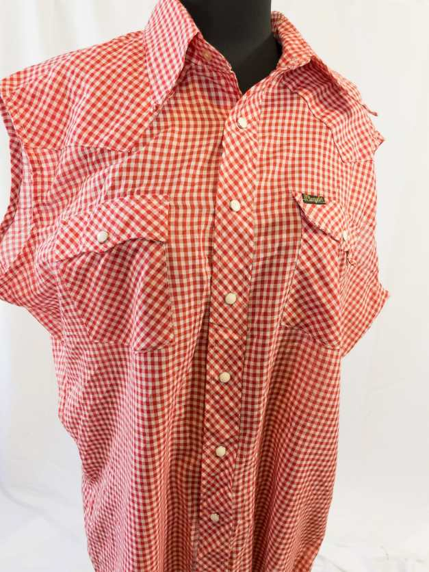 Vintage 80s Wrangler Snap-up Gingham Blouse